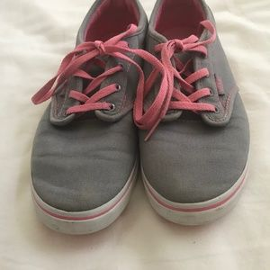 Van's gray sneakers with pink laces missy sz 5.5